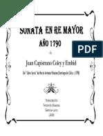 Sonata en Re Mayor (año 1790) (Juan Capistrano Coley y Embid). Fernando Abaunza