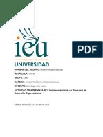 Actividad de Aprendizaje 1. Implementación de un programa de desarrollo organizacional