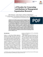 On the Use of Paradox for Generating Theoretical Contributions in Management and Organization Research