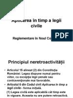 Noul Cod civil Aplicarea în timp a legii civile
