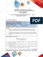 Activities guide and evaluation rubric - Unit 2 - Task 4 - Speaking Production