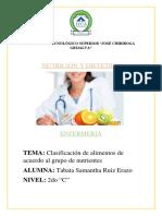 Clasificación de alimentos de acuerdo al grupo de nutrientes (1)