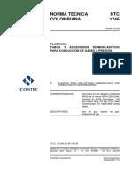 NTC 1746 Plasticos. Tubos y accesorios termoplasticos para conduccion de gases a presion