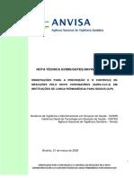 NOTA TÉCNICA Nº 05-2020 GVIMS-GGTES-ANVISA - ORIENTAÇÕES PARA A PREVENÇÃO E O CONTROLE DE INFECÇÕES PELO NOVO CORONAVÍRUS EM INSTITUIÇÕES DE LONGA PERMANÊNCIA PARA IDOSOS(ILPI)