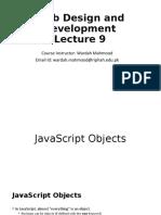 Web Design and Development Lecture 9 b - JavaScript Advanced
