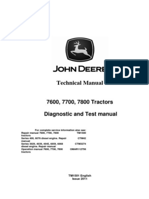 JOHN DEERE 7600 7700 7800 BETRIEB PRÜFUNG SERVICE HANDBUCH TM2646