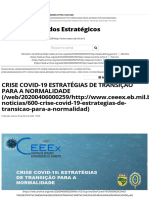 CRISE COVID-19 ESTRATÉGIAS DE TRANSIÇÃO PARA A NORMALIDADE - CEEEx - Centro de Estudos Estratégicos