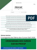 UnB - Capacitação - Cronograma de Oferta dos Cursos EaD 2020