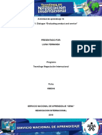 Actividad de aprendizaje 14 Evidencia 1 Dialogue Evaluating product and service.docx