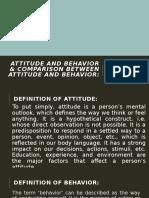 Attitude and Behavior & Comparison between Attitude and