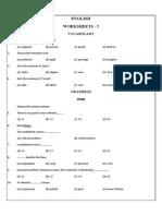English classes 6-8 Common  worksheet - 5