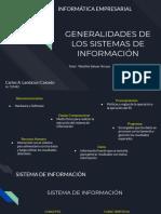 GENERALIDADES DE LOS SISTEMAS DE INFORMACIÓN