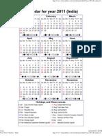 Year 2011 Calendar – India
