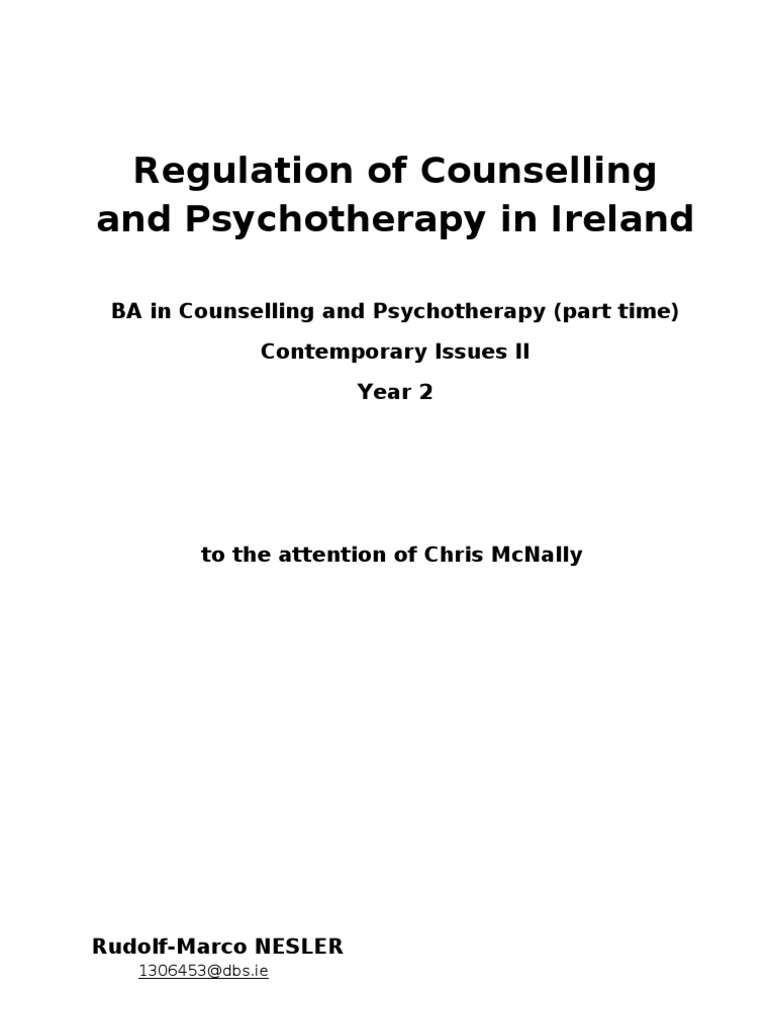 Counselling Regulation Essay   Profession   Psychotherapy