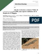 ÁREA DE DISTRIBUCIÓN DE LIOLAEMUS CONFUSUS UNA ESPECIE ENDÉMICA DE LA REGIÓN DE O'HIGGINS
