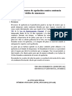formulario recurso de apelación contra sentencia amenazas