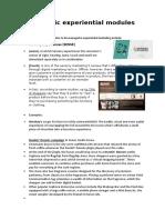 Strategic experiential modules