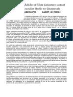 Síntesis y Juicio crítico Cobertura actual de la Educación Media en Guatemala