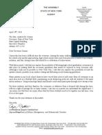 Assemblyman Santabarbara April 28 Letter to Gov Andrew Cuomo