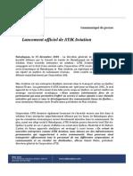 Communiqué de Presse-Lancement ATIK Aviation
