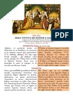 Misa Votiva de San José. Patrocinio de san José. Miércoles