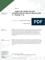 Charges de neige sur les constructions selon lEurocode 1 – Partie 1-3