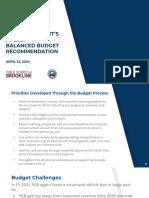 4.23.20 Finance Subcommittee Budget Presentation