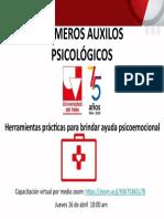 INVITACIÓN PRIMEROS AUXILIOS PSICOLOGICOS