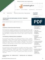 Definiciones de Profesiones, Oficios y Trabajos Especiales