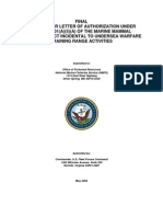 Undersea Warfare Training Range Activities Request - MARINE MAMMAL Protection ACT