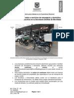 2020-04-27. Vehículos destinados a servicios de mensajería y domicilios deberán estar inscritos en la Secretaría Distrital de Movilidad (AC)