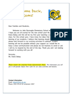 family involvement section 2  1 letter of welcome and 2 family questionnaire sheet