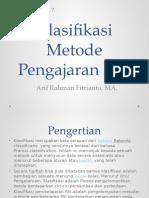 Pertemuan 7 Klasifikasi Metode Pengajaran PAI