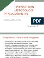Pertemuan 6 Prinsip-prinsip dan dasar Metodologi Pengajaran PAI