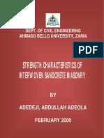 Strength characteristics of interwoven sandcrete block masonry