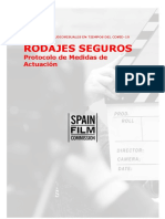 Spain Film Commission. Protocolo Covid-19 para rodajes y producciones audiovisuales