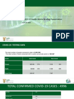COVID-19 South African Health Minister Media Presentation 28 April 2020 on COVID-19