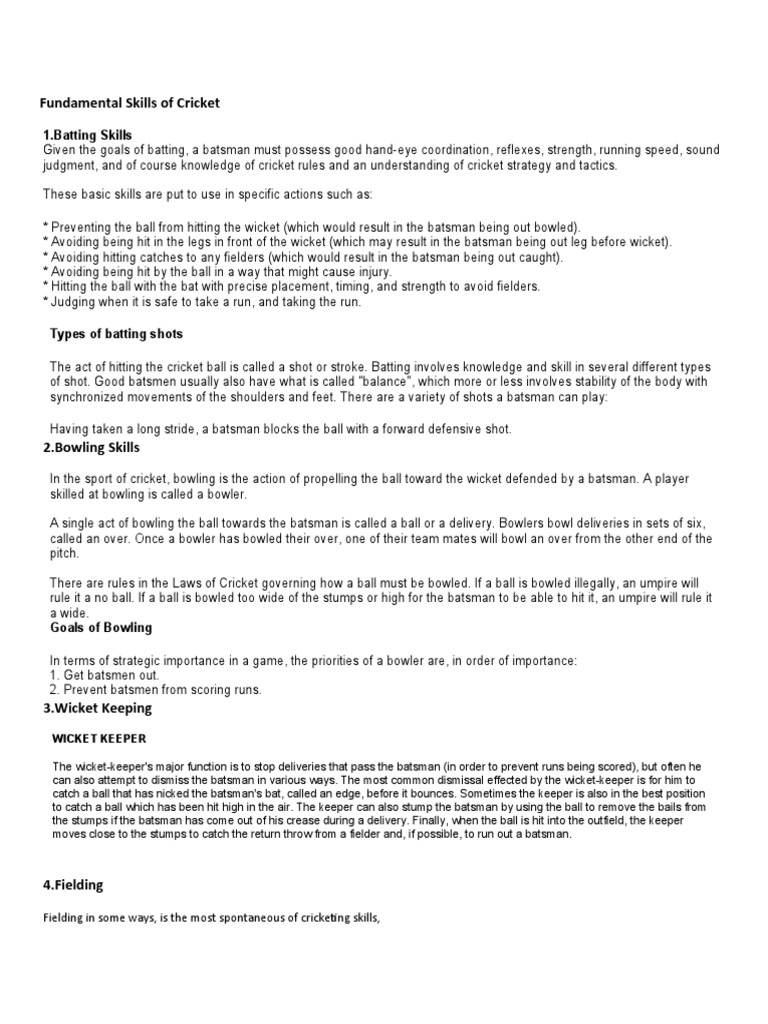 fundamental skills of cricket pdf