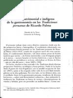 El lexico patrimonial e indigena de la gastronomia en las Tradiciones peruanas de Ricardo palma