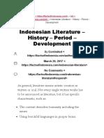 Indonesian Literature - History - Period - Development - FactsofIndonesia.com