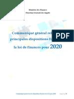 Communiqué DGI sur les dispositions fiscales LF2020