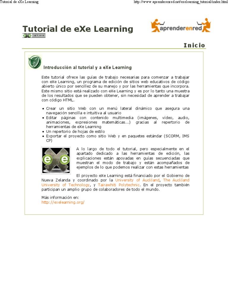 Tutorial de eXe Learning | Software | Informática