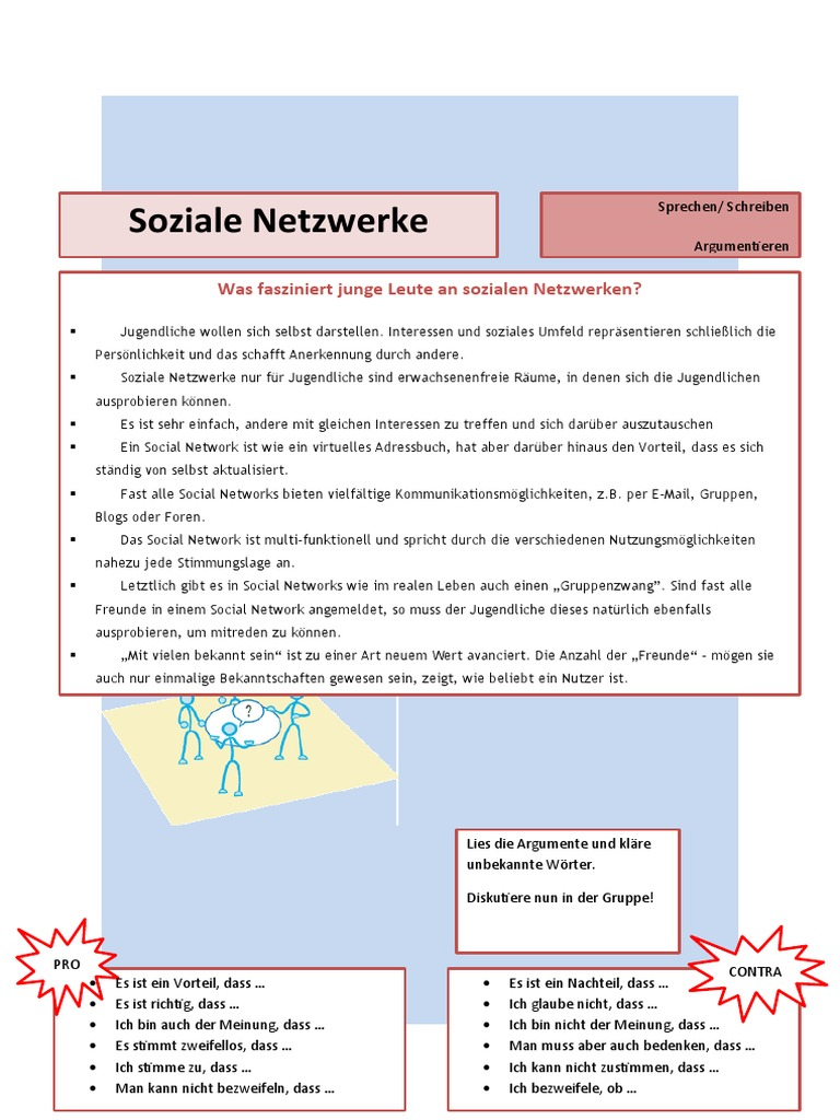 Argumentieren Soziale Netzwerke Arbeitsblatter   20   PDF