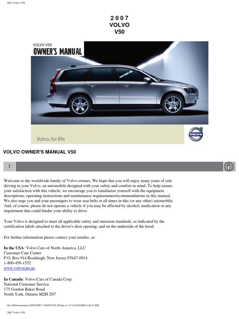 volvo v50 2007 user manual airbag seat belt rh scribd com 2007 volvo s40 owners manual pdf 2007 volvo v50 owner's manual pdf