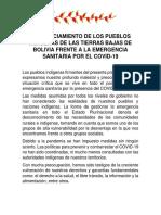 Pronunciamiento organizaciones indigenas de Bolivia frente a la pandemia