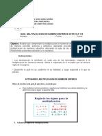GUIA MULTIPLICACION DE ENTEROS OCTAVO A Y B