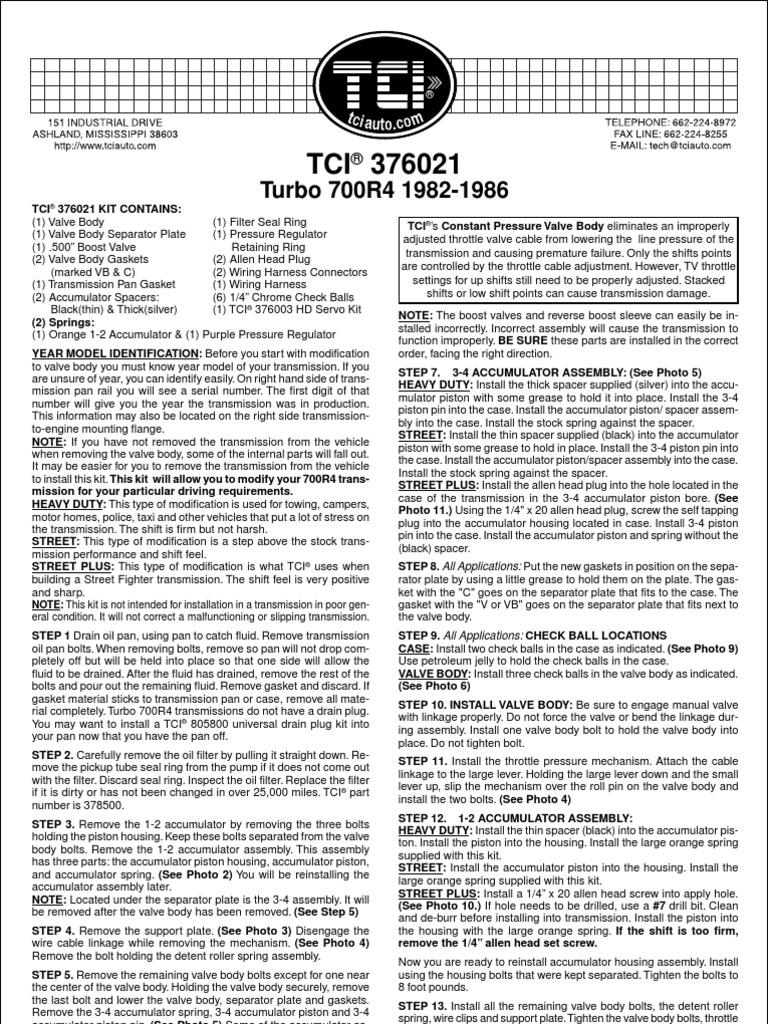 700r4 checkball locations throttle valve
