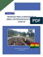 PROTOCOLO PARA REINICIACION DE OBRAS COVID-19