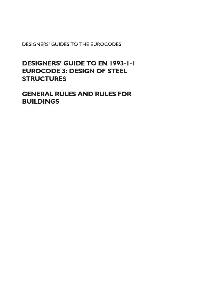 Designers' Guide to en 1993-1-1 Eurocode 3 - Design of Steel Structures |  Bending | Buckling