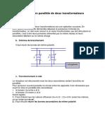 Couplage en parallèle de deux transformateurs
